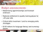 budget announcements