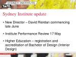 sydney institute update