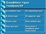 condition que subjonctif