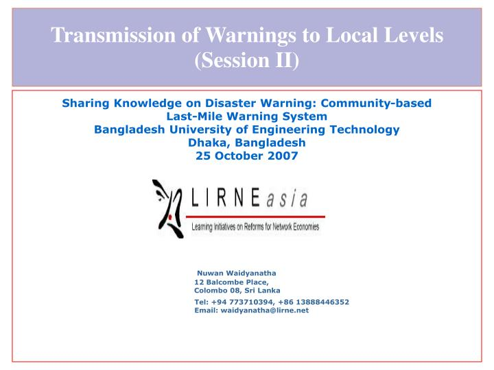 transmission of warnings to local levels session ii n.