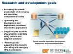 research and development goals