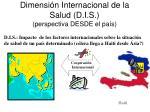 dimensi n internacional de la salud d i s perspectiva desde el pa s1