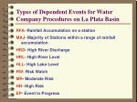 types of dependent events for water company procedures on la plata basin