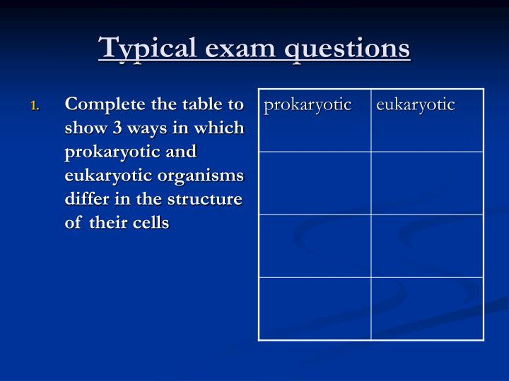 Typical exam questions