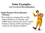 some examples low levels of diversification