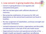 1 low concern in giving leadership direction