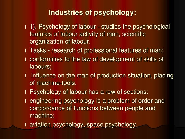 Industries of psychology: