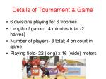 details of tournament game