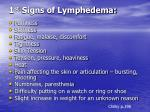 1 st signs of lymphedema