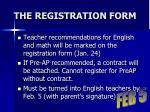 the registration form