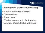 challenges of partnership working