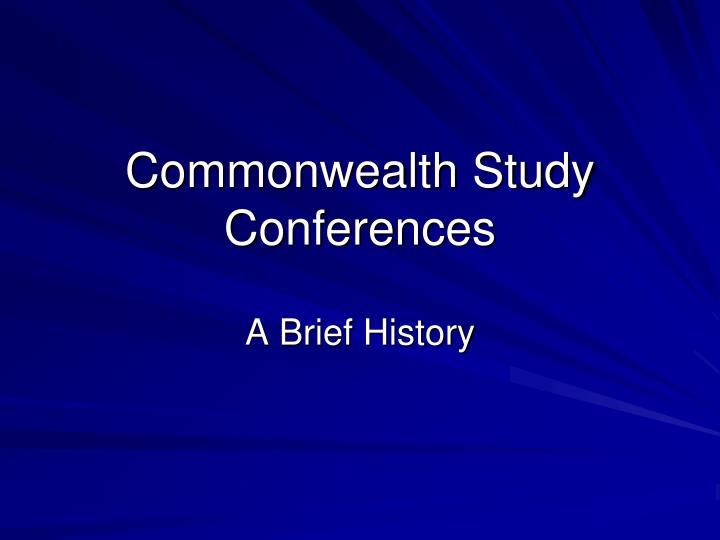 commonwealth study conferences n.