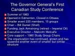 the governor general s first canadian study conference