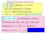 alternative derivations by calculus