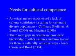 needs for cultural competence