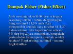 dampak fisher fisher effect