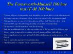 the farnsworth munsell 100 hue test f m 100 hue
