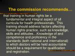 the commission recommends