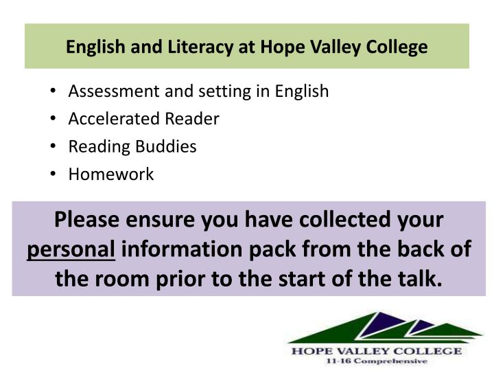 english and literacy at hope valley college n.