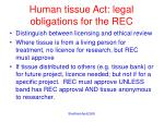 human tissue act legal obligations for the rec