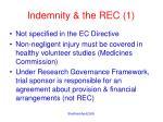 indemnity the rec 1