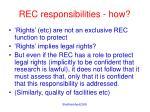 rec responsibilities how