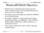 wirelesshuman objectives