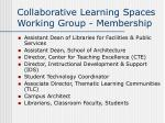 collaborative learning spaces working group membership