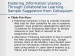 fostering information literacy through collaborative learning sample suggestion from colloquium