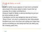 health safety at work