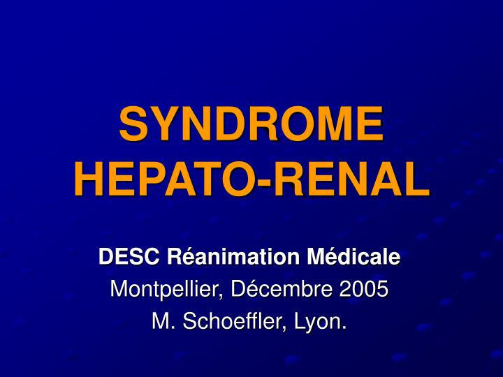 syndrome hepato renal n.