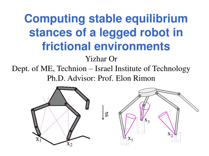 computing stable equilibrium stances of a legged robot in frictional environments n.