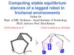 computing stable equilibrium stances of a legged robot in frictional environments1