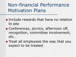 non financial performance motivation plans
