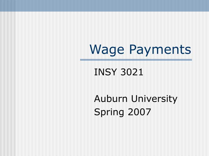 wage payments n.