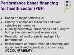 performance based financing for health sector pbf