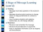 4 stage of message learning cont d