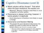 cognitive dissonance cont d