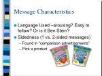 message characteristics