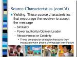 source characteristics cont d