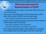 what does this mean for reauthorization of esea