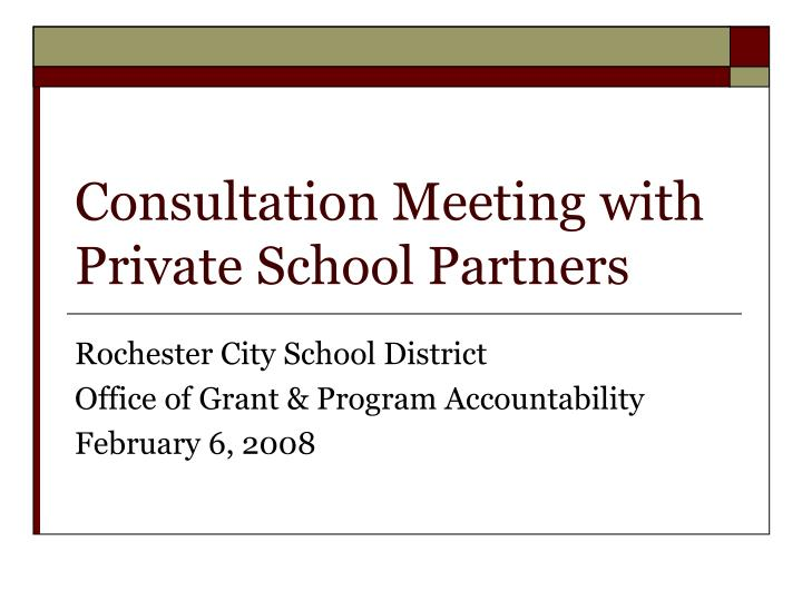 consultation meeting with private school partners n.