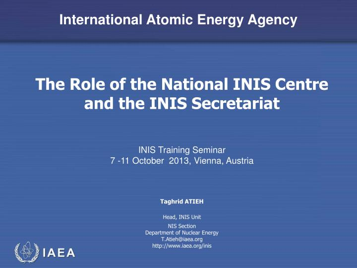the role of the national inis centre and the inis secretariat n.