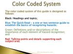 color coded system