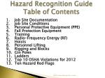 hazard recognition guide table of contents