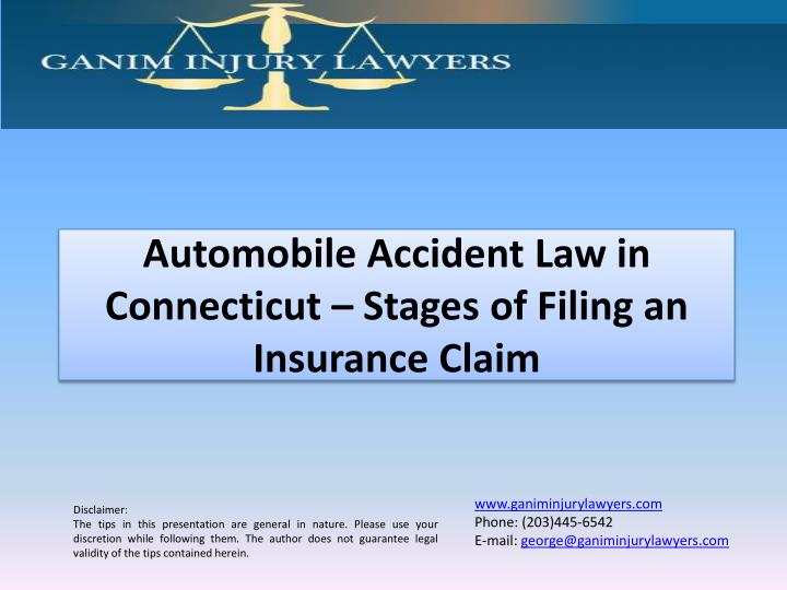 automobile accident law in connecticut stages of filing an insurance claim n.