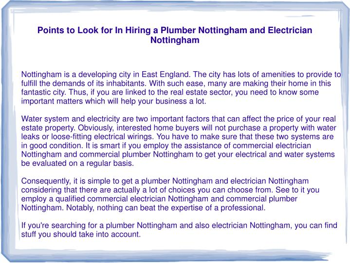 points to look for in hiring a plumber nottingham and electrician nottingham n.