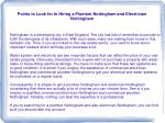 points to look for in hiring a plumber nottingham and electrician nottingham