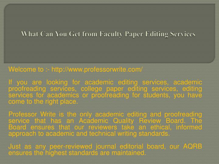 what can you get from faculty paper editing services n.