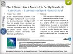 client name saudi aramco c o bently nevada ltd case study business intelligent plant roi tool